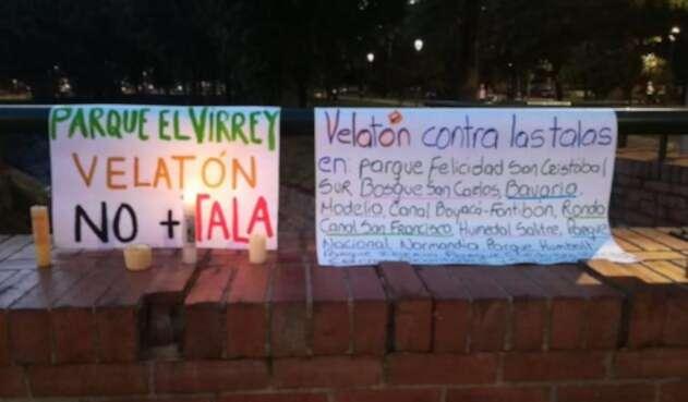 Protesta contra la tala de árboles en Bogotá