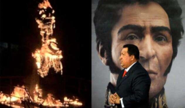 Manifestantes quemaron estatua de Hugo Chávez