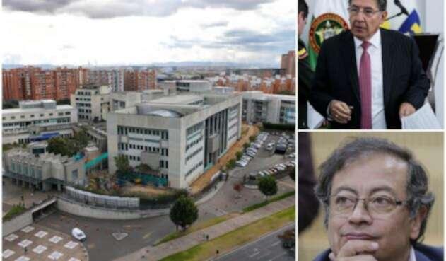 La sede de la Fiscalía en Bogotá, el fiscal Néstor Humberto Martínez y el senador Gustavo Petro
