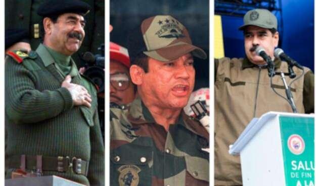 Saddam Hussein y Manuel Antonio Noriega, dictadores fallecidos. A la derecha Nicolás Maduro, presidente de Venezuela