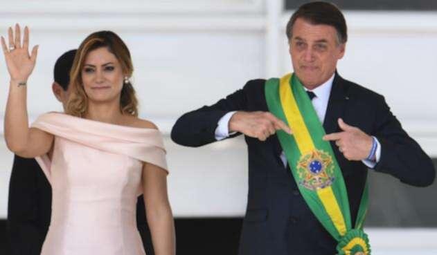 Michelle Bolsonaro y Jair Bolsonaro, primera dama y presidente de Brasil, respectivamente, en Brasilia