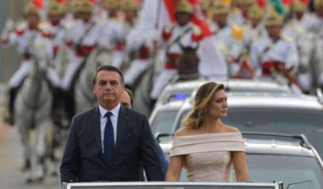 Jair Bolsonaro, presidente de Brasil, y Michelle Bolsonaro, la primera dama, en Brasilia