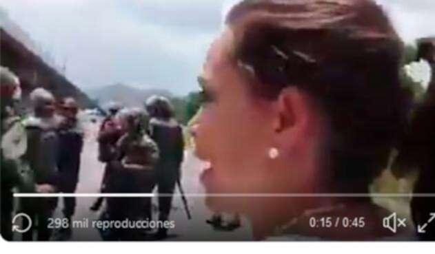 María Corina Machado increpando a los militares venezolanos
