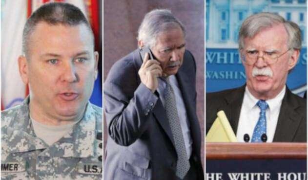 Mark Stammer, comandante del Ejército Sur de Estados Unidos; Guillermo Botero, ministro de Defensa, y John Bolton, asesor de seguridad nacional de Estados Unidos