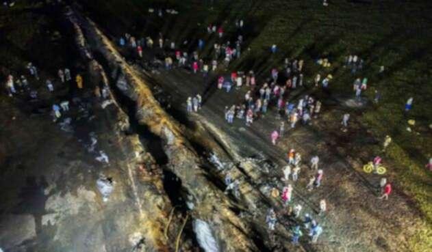 La escena tras el incendio en México