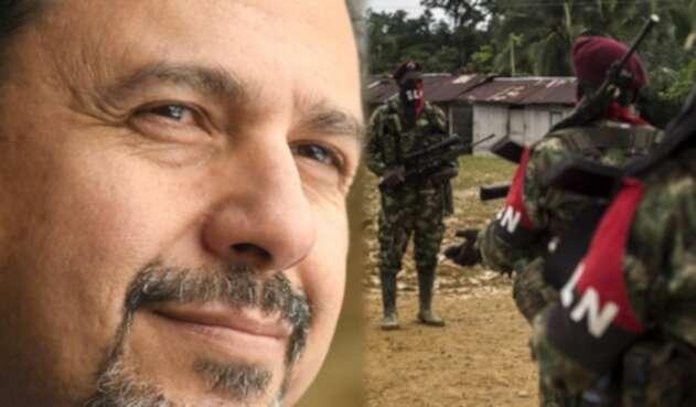 Miguel Ceballos, alto comisionado de paz (izq) y guerrilleros del ELN (der)