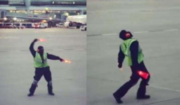 Operario bailarín en aeropuerto de Canadá