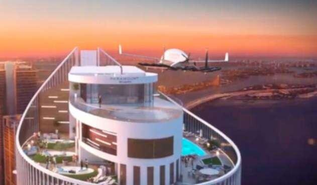 El video promocional de los taxis aéreos llegando al Paramount Miami Worldcenter