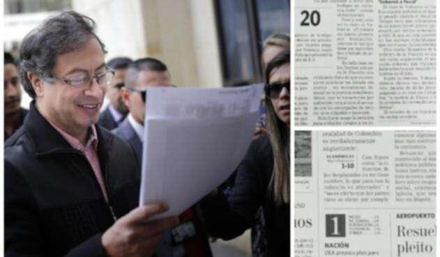 Gustavo Petro y los dos facsímiles que presentó en la Corte por el caso del video donde recibe fajos de billletes