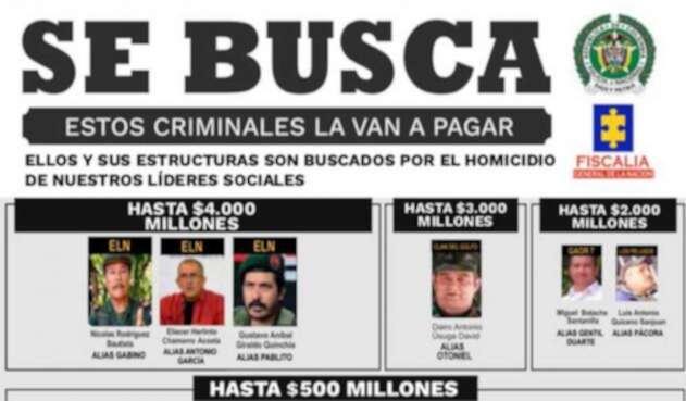 Recompensa por cabecillas de grupos armados ilegales.