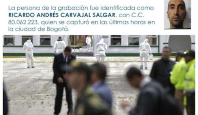Arriba Ricardo Andrés Carvajal Salgar. Abajo, las imágenes de la Escuela General Santander, en Bogotá, donde tuvo lugar el atentado