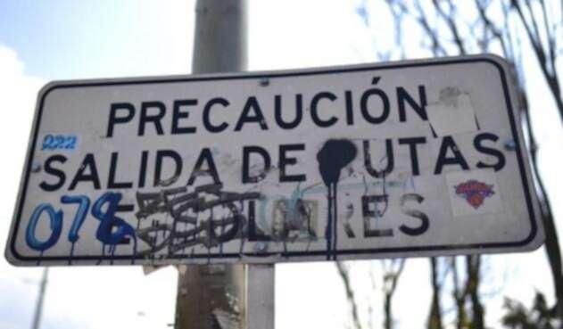 Señales de tránsito dañadas en Bogotá