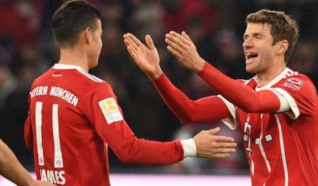 Müller y James Rodríguez jugando en el Bayern Múnich