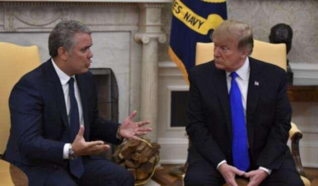 Los presidentes de Colombia, Iván Duque y de EE.UU., Donald Trump