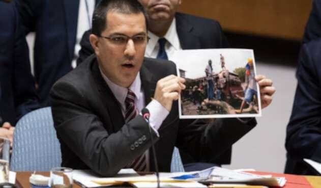 El ministro de Relaciones Exteriores de Venezuela, Jorge Arreaza, ante la ONU