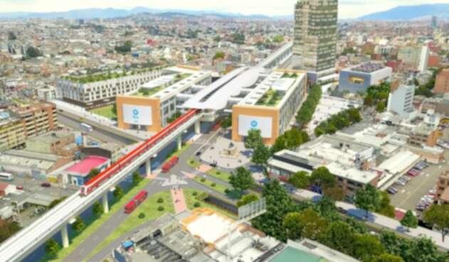 Render metro de Bogotá sobre la Calle 72