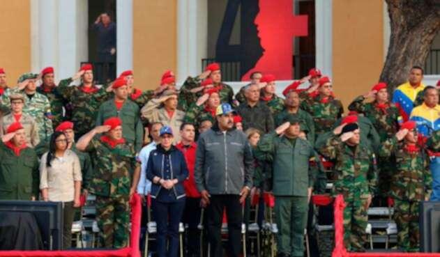 La cúpula militar venezolana acompañando a Nicolás Maduro en Caracas