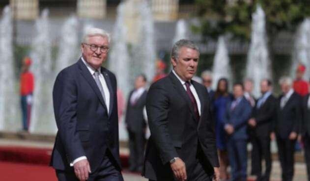 Frank-Walter Steinmeier junto a Iván Duque