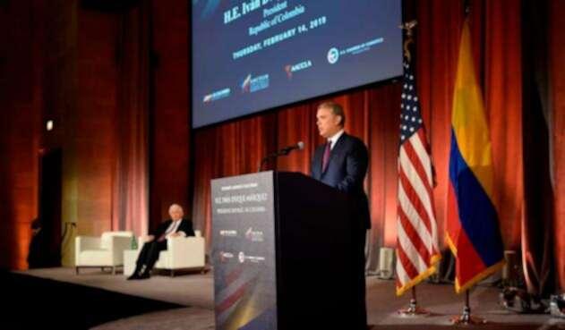 El presidente, Iván Duque, en la Cámara de Comercio de Estados Unidos, en Washington