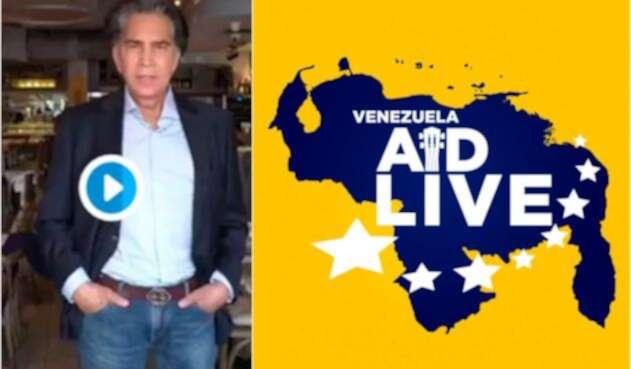 José Luis Rodríguez, conocido como El Puma, anunciando su participación en el concierto Venezuela Aid Live