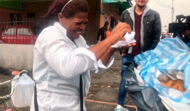 Herlin Solis, vendedora de empanadas en Bogotá