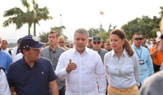Iván Duque, Marta Lucía Ramírez, y Christian Krüger en la frontera con Venezuela