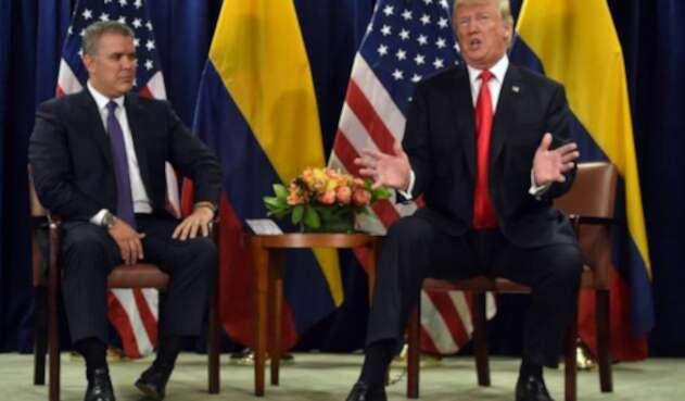 El presidente Iván Duque y su homólogo, el mandatario de Estados Unidos Donald Trump, el 25 de septiembre de 2018 en Nueva York