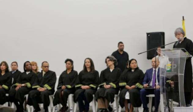 Los magistrados de la JEP cuando se cumplió un año de la puesta en funcionamiento del tribunal, el 16 de enero de 2019