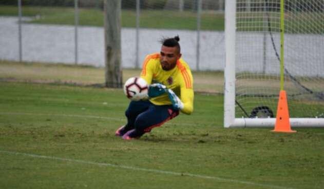 Álvaro Montero en un entrenamiento con la Selección Colombia.