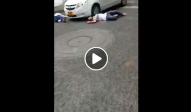 Las imágenes del falso asesinato en la ciudad de Cali