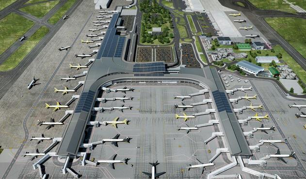 Los páneles solares instalados en el Aeropuerto El Dorado