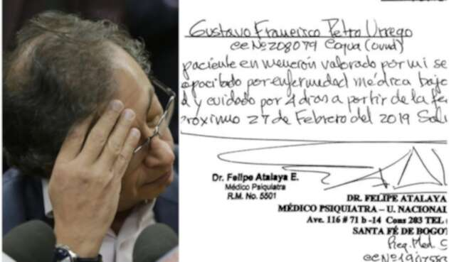 Gustavo Petro y la excusa médica que presentó