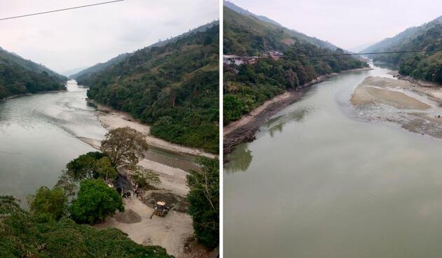 Así se veía el caudal del río Cauca la mañana de este 6 de febrero de 2019 a la altura de Puerto Valdivia, en el departamento de Antioquia, tras el cierre de la segunda compuerta en el proyecto de Hidroituango