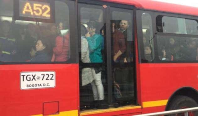 Transmilenio en el día sin carro y sin moto en Bogotá