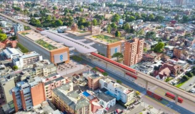 Render metro de Bogotá, a la altura de la calle 45 con Caracas