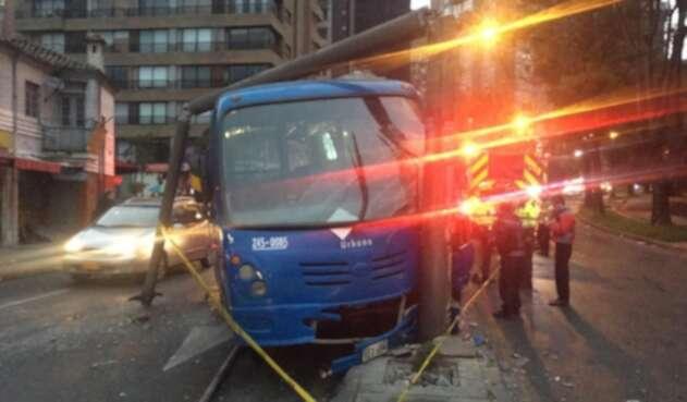 Accidente bus del SITP en Teusaquillo