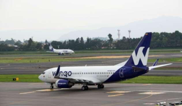 Aviones de la aerolínea Wingo en el aeropuerto El Dorado