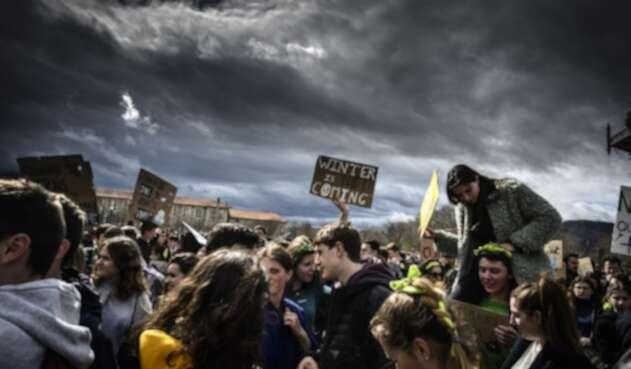 Protestas de jóvenes contra el cambio climático, en Valence (sureste de Francia)