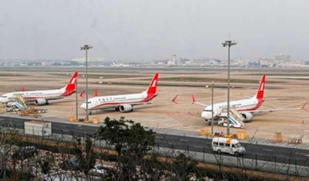 Aviones Boeing 737 MAX en el Aeropuerto Internacional de Shanghai, en China