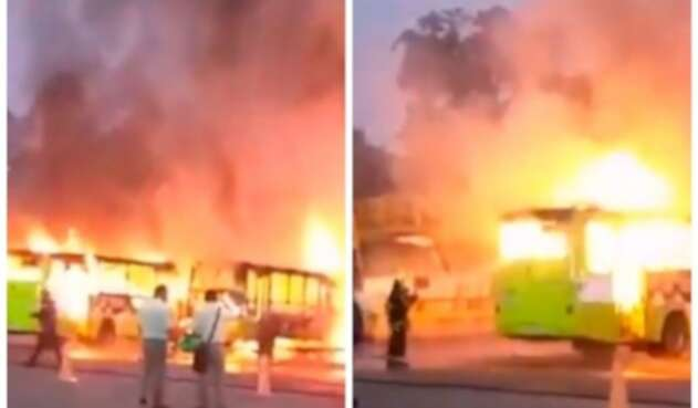 Incendio en buses de Metrolínea
