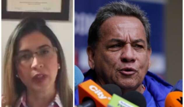Carolina Rozo, exfisioterapeuta de la Selección Colombia Sub-17 femenina, y el técnico Didier Luna