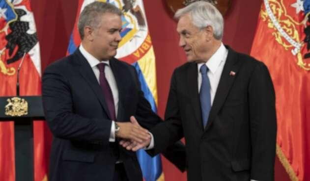 Los presidentes Iván Duque y Sebastián Piñera