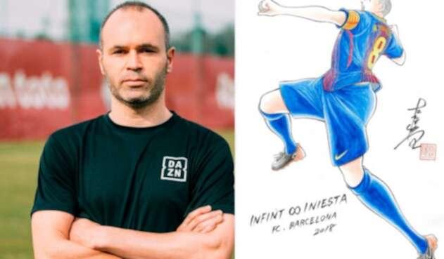 Andrés Iniesta dibujado por el creador de los Supercampeones