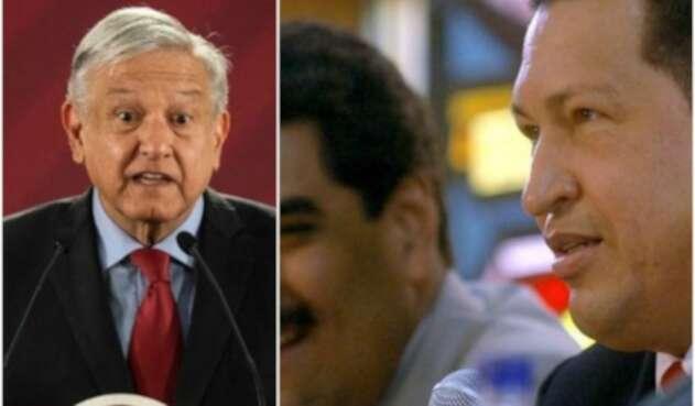 El presidente de México Andrés López Obrador y el fallecido Hugo Chávez