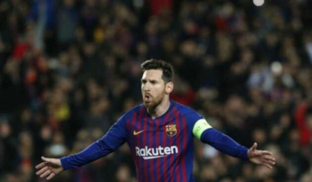 Lionel Messi celebra triplete que marcó ante el Betis.