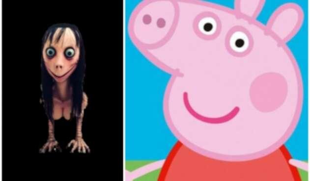 La imagen que representa al denominado Momo Challenge. A la derecha la de Peppa Pig