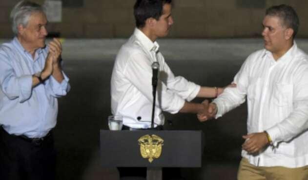 Sebastián Piñera, Juan Guaidó e Iván Duque