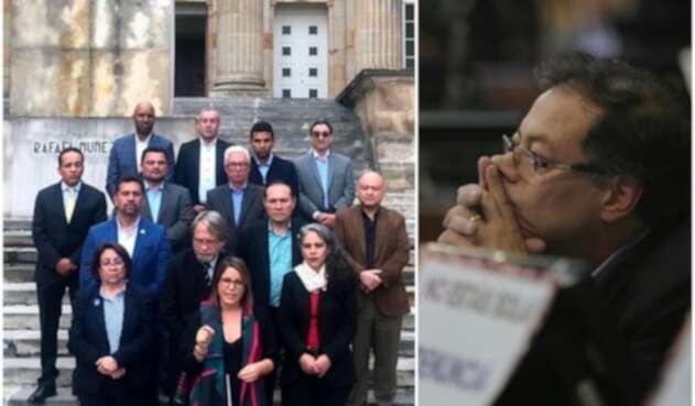 Juanita Goebertus (al frente), hablando a nombre de la oposición. A la derecha el senador Gustavo Petro