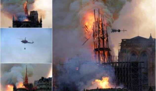 La Catedral de Notre Dame de París, en medio del fuego