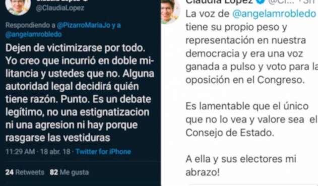 Los mensajes publicados en Twitter por Claudia López, candidata a la Alcaldía de Bogotá